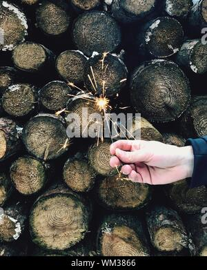 Cropped Hand Of Woman Holding Sparkler By Firewood - Stock Photo