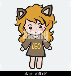 Leo girl horoscope cartoon vector illustration doodle style - Stock Photo