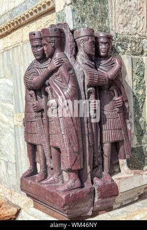 Portrait of the Four Tetrarchs , sculpture group of four Roman emperors in Venice , Italy - Stock Photo