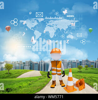 Three-dimensional man dressed as road worker standing on road running through green hills. City of tall buildings in background. World map and other v - Stock Photo
