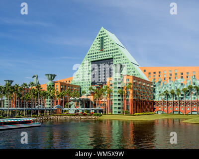 Hotels and the Disney World resort close to Orlando, Florida. There are many hotels at the resort. - Stock Photo