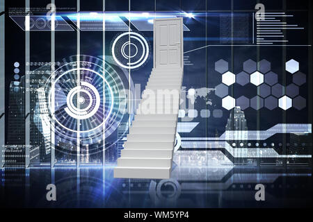 Stairs leading to door against hologram interface in office overlooking city - Stock Photo