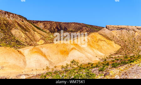 Colorful Mountains along Northshore Road SR167 in Lake Mead National Recreation Area in semi desert landscape between Boulder City and Overton, NV, US - Stock Photo