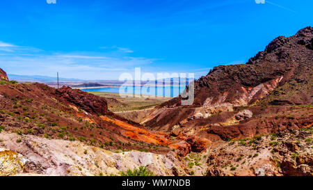 View of Lake Mead from the Historic Railroad Hiking Trail near the Dam between Nevada and Arizona, USA - Stock Photo