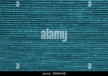 Background of Turquoise Plank Stone Exterior Wall closeup - Stock Photo