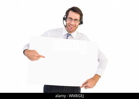 Happy businessman showing card to camera on white background - Stock Photo
