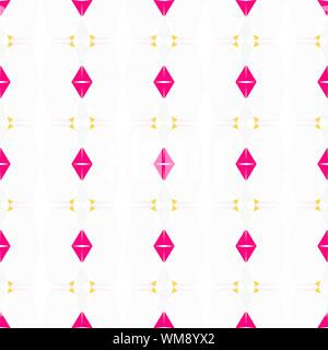 seamless geometric pattern with bright pink, snow and pastel orange colors. - Stock Photo