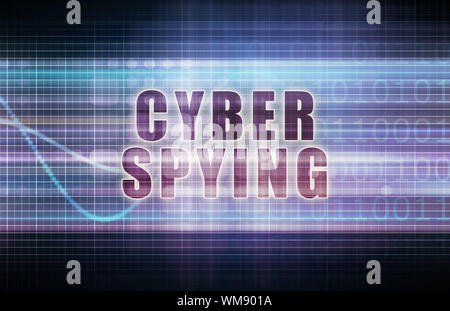 Cyber Spying on a Tech Business Chart Art - Stock Photo