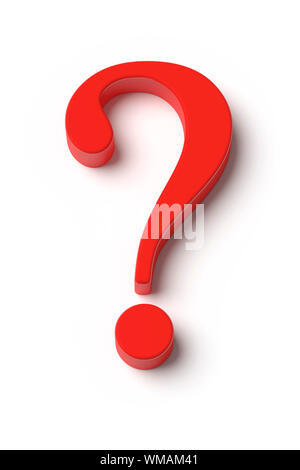 An image of a red question mark top view - Stock Photo