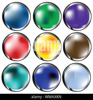 Collection of glossy web buttons in various colors - Stock Photo