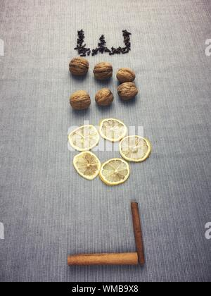 High Angle View Of Text Made With Food - Stock Photo