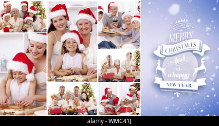 Collage of families enjoying celebration moments together at home against purple vignette - Stock Photo