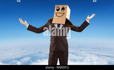 Anonymous businessman holding his hands out against blue sky over white clouds - Stock Photo