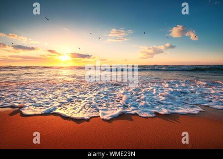 Beautiful sunset over the tropical sea.