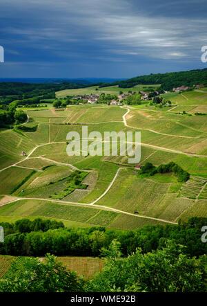 The vineyard countryside rural farmland landscape of the Jura limestone mountain region in Chateau Chalon, France - Stock Photo