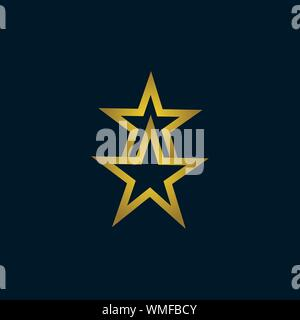 Gold Star Logo Vector in elegant Style with dark blue Background - Stock Photo