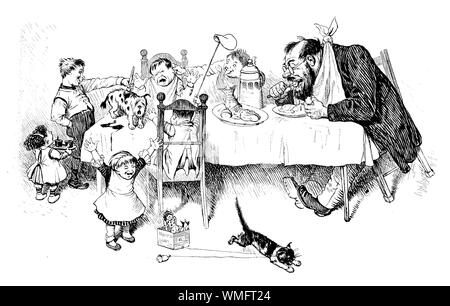 German satirical magazine, humor and caricatures: not a very polite dinner at home, mum is out and rascal boys make fun and mess at the table, dad is concentrated on food - Stock Photo