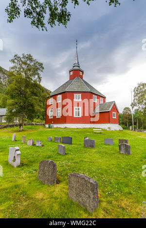 Beautiful red wooden little church of Lonset, Oppdal municipality in Trondelag county in Norway, Scandinavia - Stock Photo
