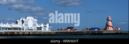 Panoramic view of South Parade Pier and Southsea Beach, Southsea, Portsmouth, Hampshire, England, UK - Stock Photo