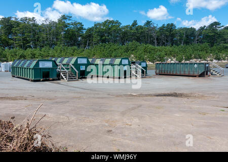 Single Stream recycling containers at landfill in US for plastic, glass, paper - Stock Photo