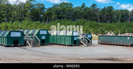 Single Stream recycling containers for glass, plastic and paper at US landfill at the Bourne Integrated Solid Waste Management facility - Stock Photo