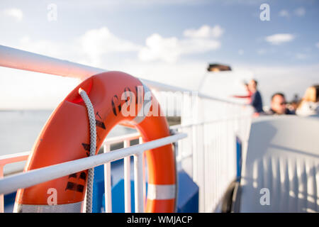 Side View Of Floatation Device On Boat - Stock Photo