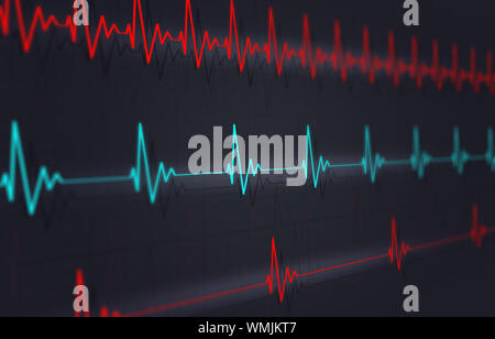 medical illustration of heart pulsating fast normal and slow - Stock Photo