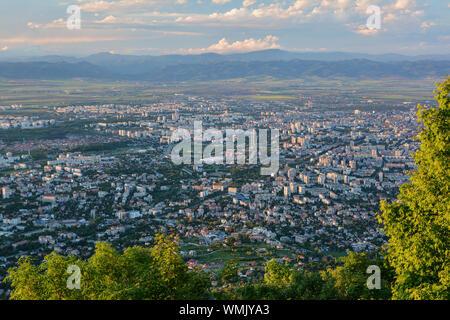 View to the Sofia city at daylight. View from the Kopitoto Hill, Vitosha Mountain, Bulgaria. - Stock Photo