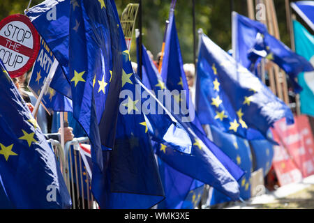 London, UK. 4th September 2019. Stop Brexit sign hidden between flags of the European Union along College Green, opposite the Houses of Parliament, Westminster, London, during an anti-brexit protest. Credit: Joe Kuis /Alamy News - Stock Photo