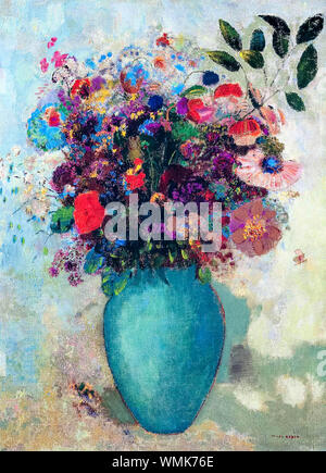 Odilon Redon, Flowers in a Turquoise Vase, still life painting, circa 1912 - Stock Photo