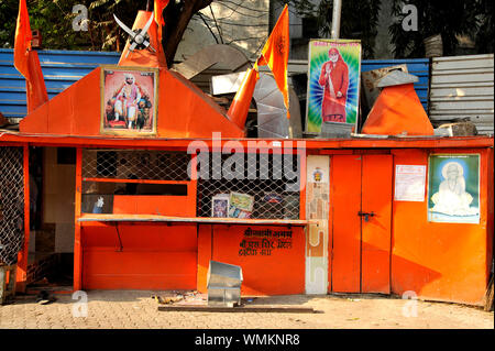Mumbai, Maharashtra, India, Southeast Asia - Illegal Man Made Hindu Temple of Sai Baba Shri Swami Samarth And Chhatrapati Shivaji Maharaj - Stock Photo
