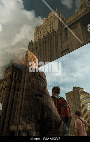 MOSCOW, RUSSIA - JULY 18, 2019: People near the Ministry of Foreign Affairs - Stock Photo
