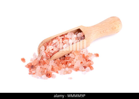 Himalayan pink salt in a wooden spoon, isolated on white background. Himalayan pink salt in crystals. - Stock Photo