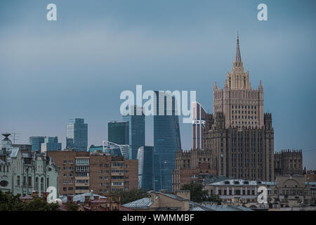 MOSCOW, RUSSIA - JULY 18, 2019: View on Moscow City from Patriarchal Bridge. - Stock Photo
