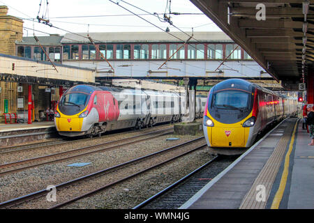 Class 390 Pendolinos at Lancaster, Lancashire - Stock Photo