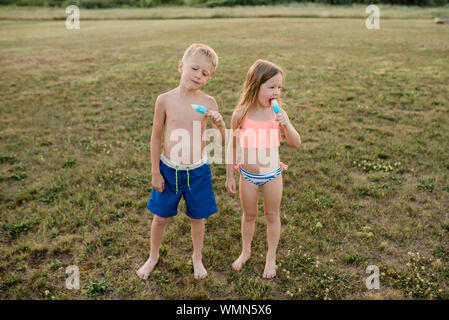 Brother and sister eat popsicles wearing swimsuits in grass in summer - Stock Photo