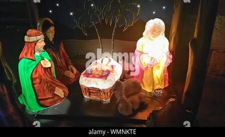 Christmas Crib At Home - Stock Photo