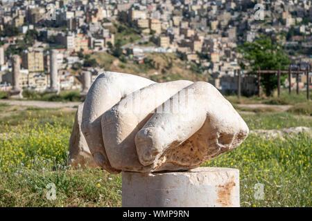 Hand of Hercules at the Amman Citadel in Amman, Jordan. - Stock Photo