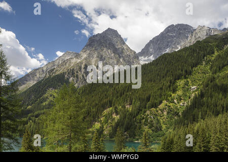 The rugged mountains of the Dolomite around Lago di Anterselva, Italy. - Stock Photo