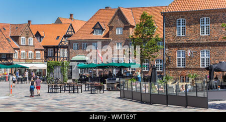 Panorama of restaurants at the Torvet market square in Ribe, Denmark - Stock Photo