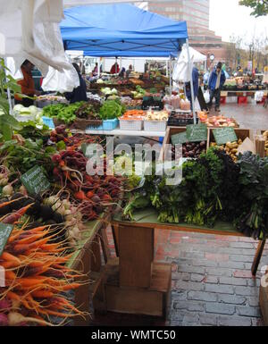 High Angle View Of Fresh Organic Vegetables At Street Market Stall - Stock Photo