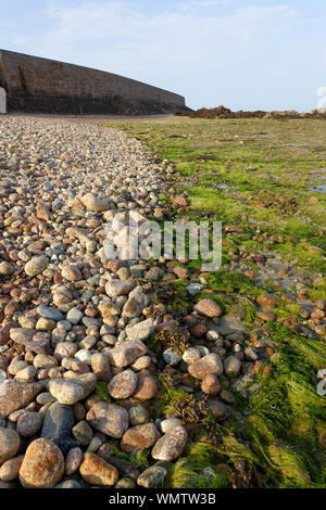 The tide line on a pebble beach in Jersey, Channel Islands - Stock Photo