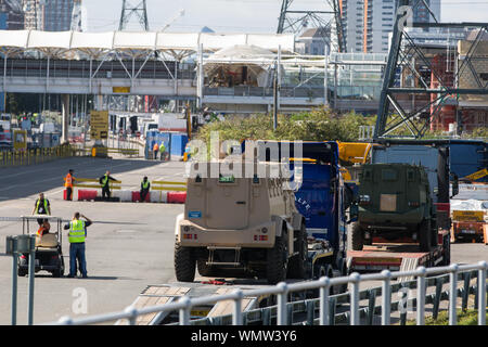 London, UK. 5 September, 2019. Military vehicles arrive at ExcelLondon for DSEI, the world's largest arms fair. Credit: Mark Kerrison/Alamy Live News - Stock Photo