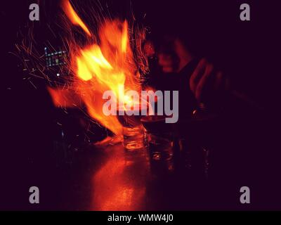 Close-up Of Flaming Shot - Stock Photo