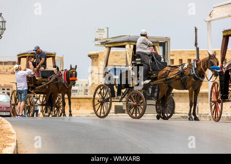 Malta, Valetta, Old Town, horse-drawn carriages await tourists, - Stock Photo