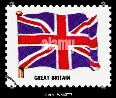 GREAT BRITAIN FLAG - Postage Stamp isolated on black background. - Stock Photo