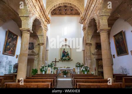 Italy, Apulia, Province of Lecce, Gallipoli. June 03, 2019. Chiesa di Santa Maria del Canneto. Interior nave. - Stock Photo