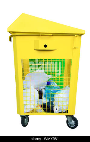 Yellow metal trash bin. Garbage waste from plastic. White isolate. - Stock Photo
