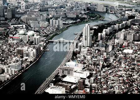 High Angle View Of River Amidst Cityscape - Stock Photo