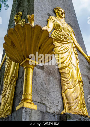 Detail of the fountain Hotmannspief in Aachen, North Rhine-Westphalia Germany from 1830 - Stock Photo